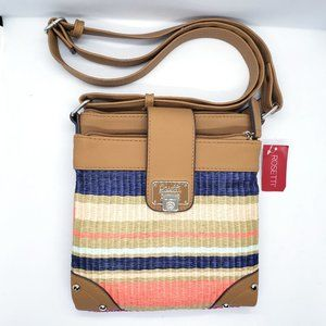 Rosetti Double Time Crossbody Purse Stripe Folding